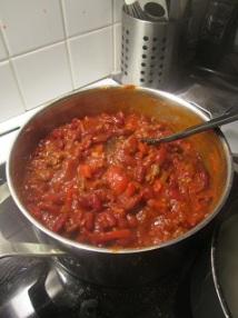 Chiligryte klar til servering